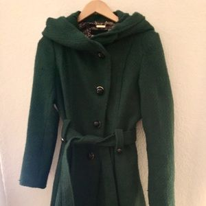 Tweed Coat Steve Madden Belted Hooded